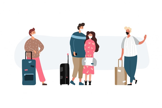 Group of travel people with medical masks. men and women wearing protection from virus. young tourists travelling with backpacks and bags, suitcases.  illustration in a flat style.