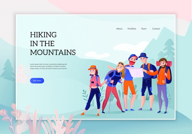 Group of travelers during hiking in mountains concept of web banner on nature