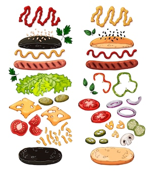 Group of vector isolated products for cooking hotdogs.