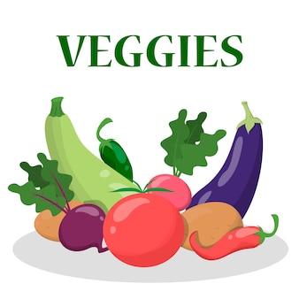 Group of vegetable. fresh green food. organic tomato