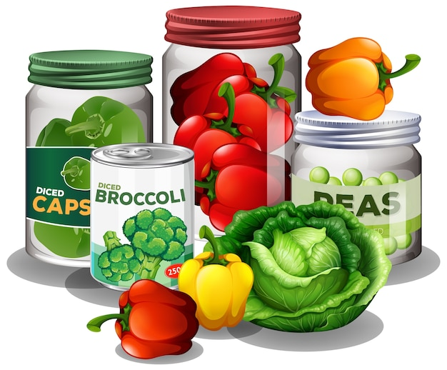 Group of vegetables with vegetable in jars isolated on white