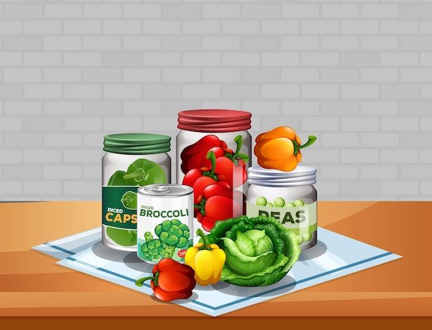 Group of vegetables with vegetable in jars on the table