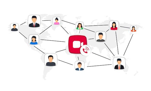グループビデオ通話。ビデオ通話と長距離通信。グローバルコミュニケーションの概念。在宅勤務の会議ビデオ通話。グループビデオチャットロゴデザイン