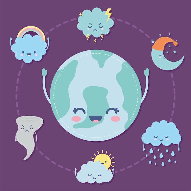 Group of weather icons over a purple illustration design