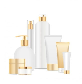 Group of white and gold cosmetic tubes