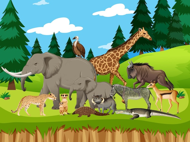 Group of wild african animal in the forest scene