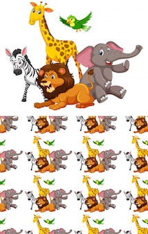 Group of wild african animals and seamless pattern