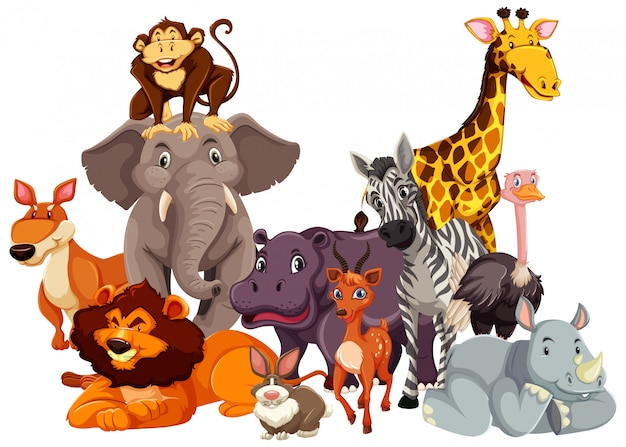 Group of wild animal Free Vector