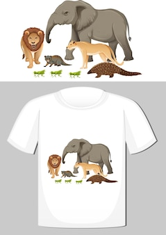 Group of wild animals design for t-shirt