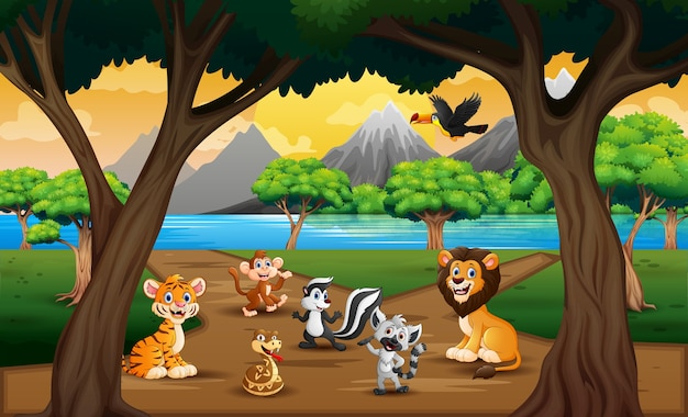 Group of wild animals in the nature landscape
