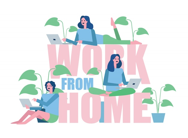Group of woman working from home. home quarantine concept design. illustration