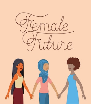 Group of women characters with feminist message