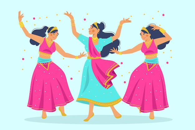 Group of women dancing bollywood illustration
