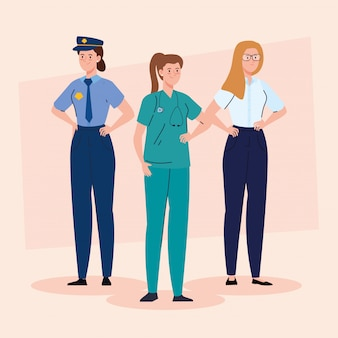 Group of women of different professions vector illustration design
