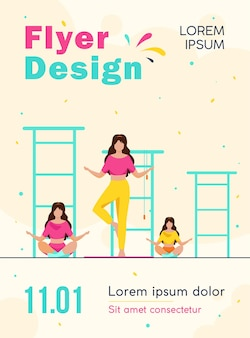 Group of women doing yoga flyer template