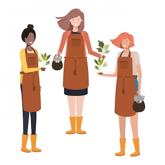 Group of women gardeners smiling avatar character