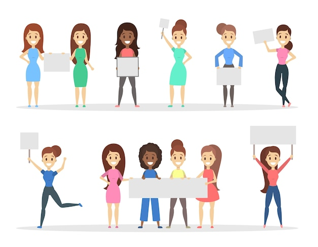 Group of women holding empty white placards in the hands. promotion and advertisement. isolated flat vector illustration