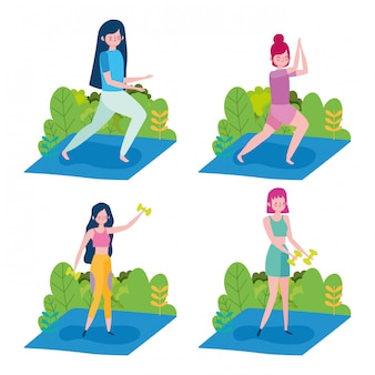 그룹 여성 요가 연습과 역도 야외 건강 생활