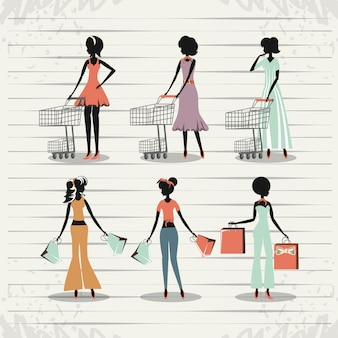 Group of women in shopping day style retro vector illustration design