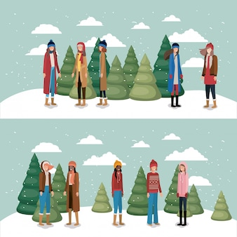 Group of women in snowscape with winter clothes