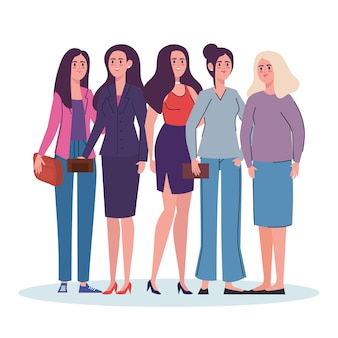 Group of women standing avatars characters