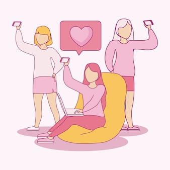 Group of women taking selfie with smartphone and speech bubble