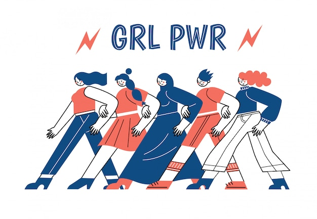 A group of women vector characters go together in a leg. international women's day. the struggle of women for their rights.