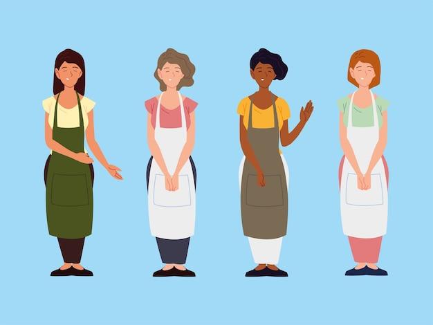 青い背景イラストにエプロンの文字を身に着けているグループの女性