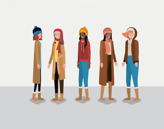 Group of women with winter clothes