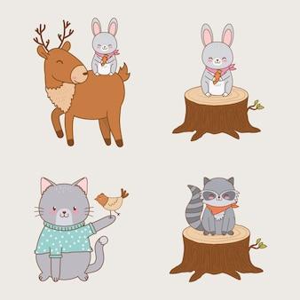 Group of woodland animals