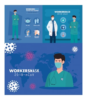 Рабочие группы носят медицинскую маску против