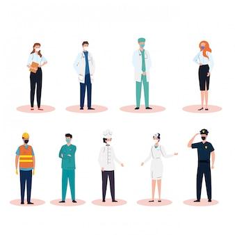 Работники группы нося медицинскую маску во время covid 19 иллюстраций дизайн