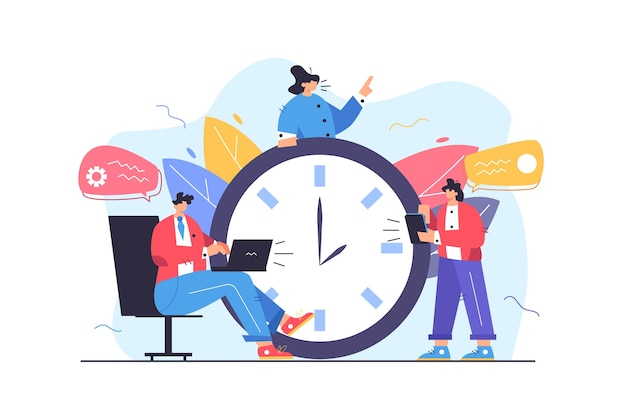 Group of workers working on time with data big clock deadline isolated on white background flat  illustration