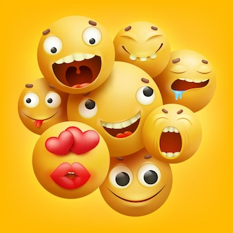 Group of yellow smiley cartoon emoji characters in 3d