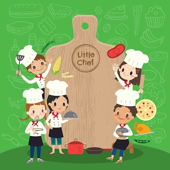 Group of young chef