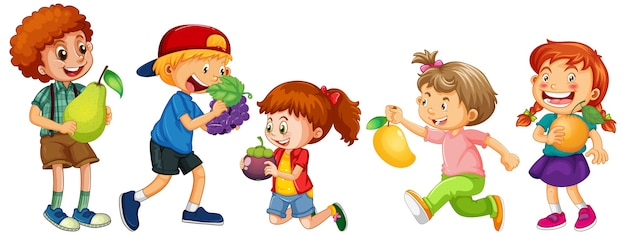Group of young children cartoon character on white background Free Vector