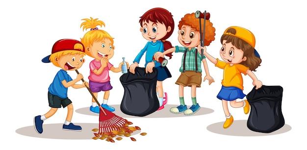 Gruppo di bambini piccoli personaggio dei cartoni animati su sfondo bianco