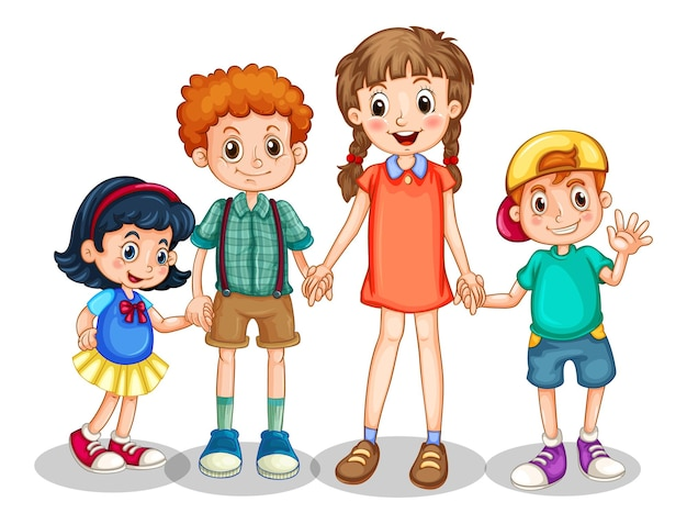 Group of young children cartoon character on white background