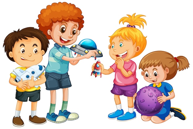 Group of young children cartoon character on white