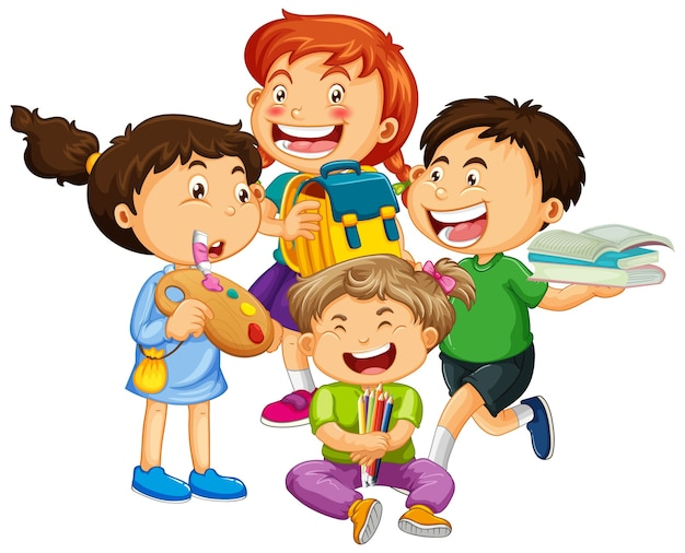 Group of young children cartoon character