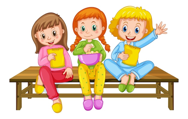 Gruppo di bambini piccoli personaggio dei cartoni animati