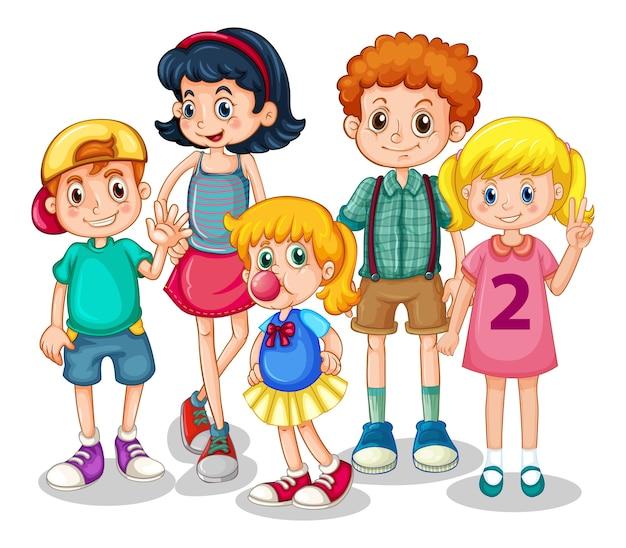 Gruppo di bambini piccoli su bianco