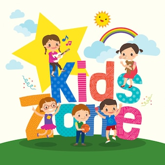 Group of young children with kids zone word cartoon