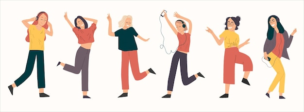Group of young happy dancing girl full length use headphones.