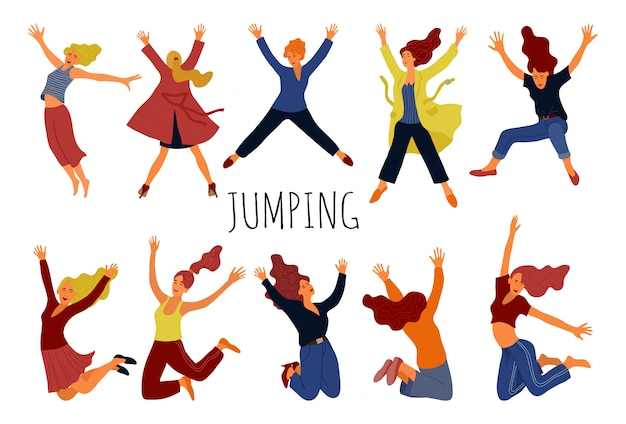 Group of young happy jumping women
