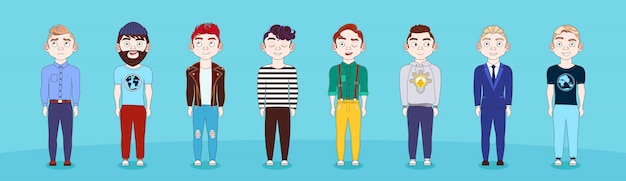 Group of young man in casual clothes full length male