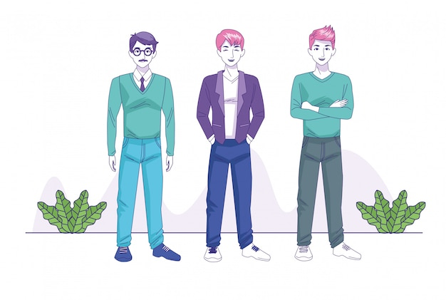 Group of young men avatars characters