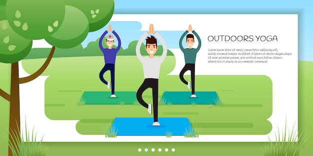 Group of young men practicing yoga in the park. banner, site, poster template with place f