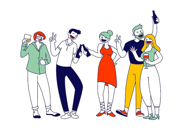 Group of young men and women holding glasses and bottles with beverages celebrating holiday. cartoon flat illustration