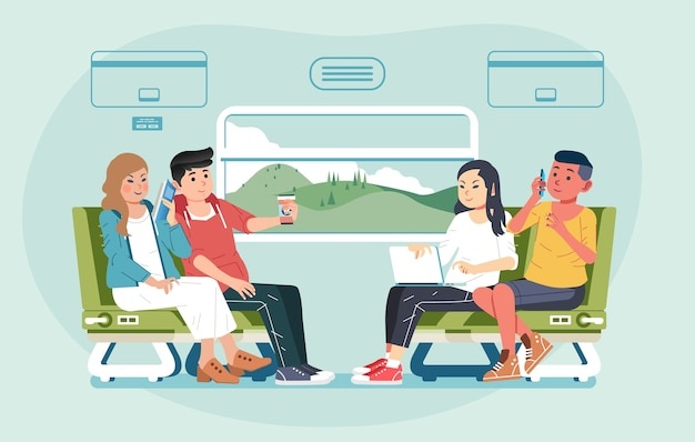 Group of young men and women travelling by train sit facing each other and chat  illustration. used for banner, website image and other